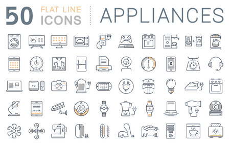 Set vector line icons in flat design appliance, smart devices and gadgets, modern web icons and symbols with elements for mobile concepts and web apps. Vektorové ilustrace