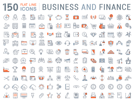 Set vector line icons in flat design with elements for mobile concepts and web apps. Ilustração