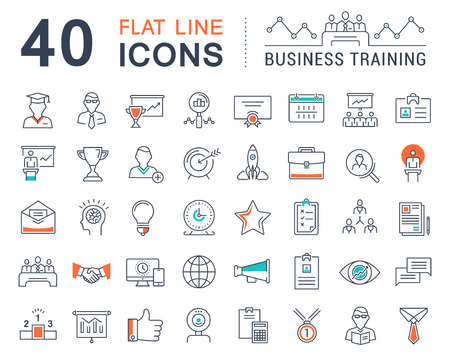 training course: Set vector line icons in flat design business training and development, training course, business meeting with elements for mobile concepts and web apps.