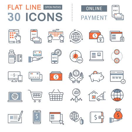 평면 디자인 온라인 뱅킹, 결제 및 모바일 개념과 웹 애플 리케이션을위한 요소와 온라인 쇼핑의 설정 벡터 라인 아이콘. 스톡 콘텐츠 - 58453124