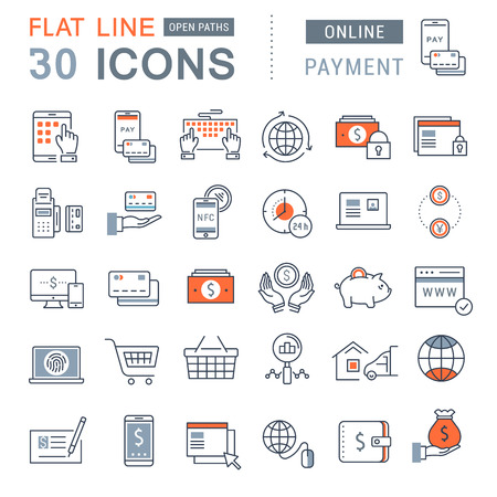 Fije los iconos del vector de línea en el diseño de la banca en línea plana, pagos y compras en línea con los elementos móviles de conceptos y aplicaciones web.