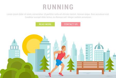 Ilustración plana del funcionamiento del hombre, el deporte y la actividad física. Concepto de banners web y materiales impresos.