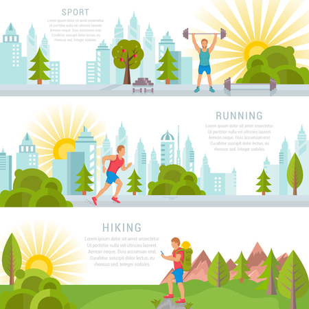 Vector set sport and fitness illustrations and banners on white background. Running man, fitness and bodybuilding man, hiking sports. 矢量图像