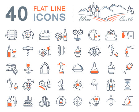 tasting: Set vector line icons in flat design wine making, grape cultivation, tasting, storage and sale of wine with elements for mobile concepts and web apps. Illustration