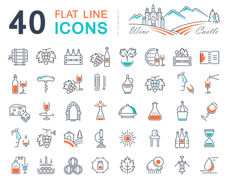 cultivation: Set vector line icons in flat design wine making, grape cultivation, tasting, storage and sale of wine with elements for mobile concepts and web apps. Illustration