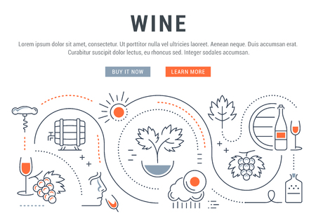 wine making: Flat line illustration of wine making, grape cultivation and sale of alcoholic beverages.