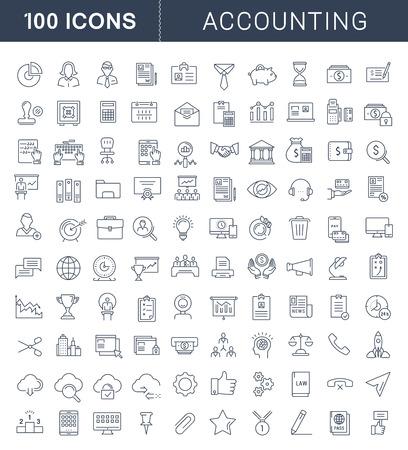 Fije los iconos del vector de línea plana en la contabilidad de diseño, las finanzas y los negocios con elementos para conceptos móviles y aplicaciones web. Colección pictograma infografía moderna.