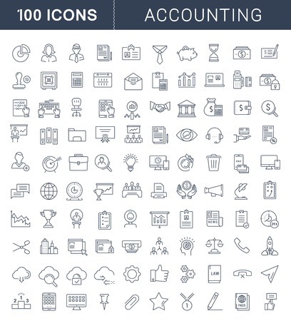 Stel vectorlijnpictogrammen in platte ontwerp accounting, financiën en zaken met elementen voor mobiele concepten en web apps. Collectie modern infographic pictogram. Stockfoto - 59073412
