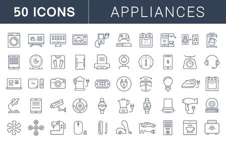 Définissez des icônes de lignes vectorielles dans un appareil de conception plate, des appareils intelligents et des gadgets, des icônes Web et des symboles modernes avec des éléments pour des concepts mobiles et des applications Web. Collection de pictogrammes infographiques modernes Vecteurs
