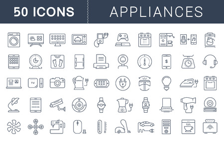 Set vector line icons in flat design appliance, smart devices and gadgets, modern web icons and symbols with elements for mobile concepts and web apps. Collection modern infographic pictogram Vectores