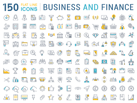 Set vector line icons in flat design business, finance and accounting with elements for mobile concepts and web apps. Collection modern infographic pictogram. Vettoriali
