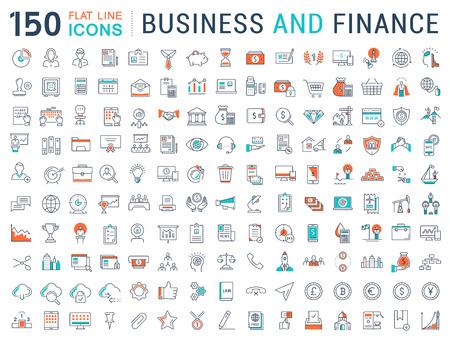 Fije los iconos del vector de línea de diseño plano con elementos móviles de conceptos y aplicaciones web. Colección pictograma infografía moderna.