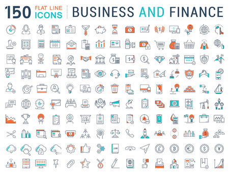 Set vector line icons in flat design with elements for mobile concepts and web apps. Collection modern infographic pictogram.