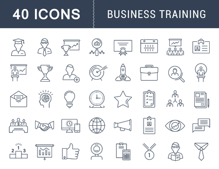 event icon: Set vector line icons in flat design business training and development, training course, business meeting with elements for mobile concepts and web apps. Collection modern infographic sign. Illustration