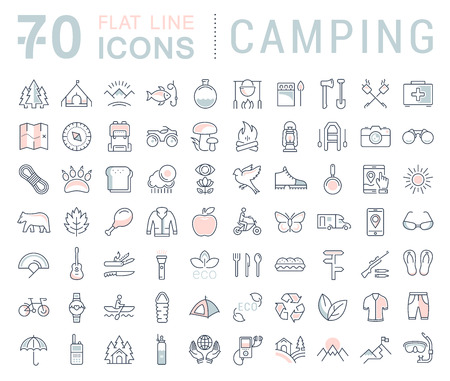 transportation icons: Set vector line icons in flat design camping, eco and ecotourism with elements for mobile concepts and web apps. Collection modern infographic pictogram.
