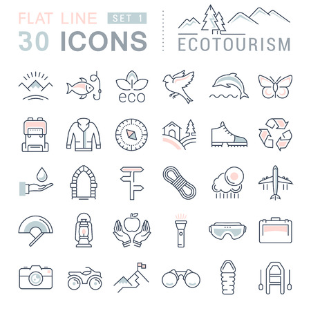 ecotourism: Set vector line icons in flat design eco, ecotourism and recycle with elements for mobile concepts and web apps. Collection modern infographic pictogram. Illustration