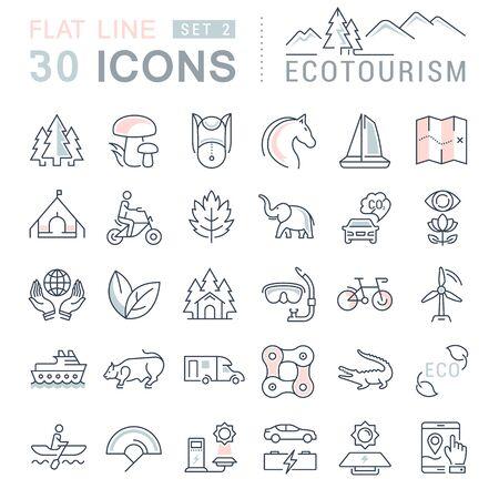 turismo ecologico: Establecer iconos de líneas vectoriales en eco diseño plano, el ecoturismo y reciclar con elementos móviles de conceptos y aplicaciones web. Colección pictograma infografía moderna. Vectores