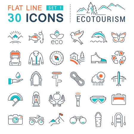 thrift: Set vector line icons in flat design eco, ecotourism and recycle with elements for mobile concepts and web apps. Collection modern infographic pictogram. Illustration