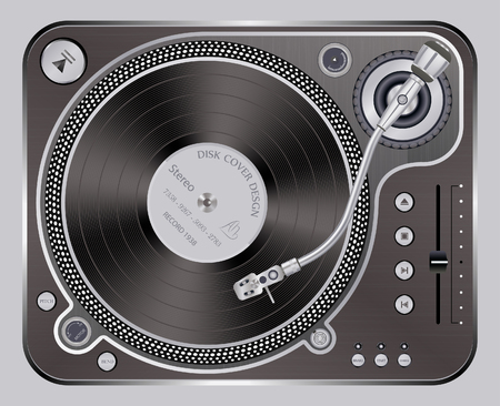 technics: Vector illustration of modern gold turntable with a plate on a isolated background.