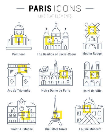 coeur: Set vector line icons in flat design Paris architecture and France building with elements for mobile concepts and web apps. Collection modern infographic pictogram. Illustration