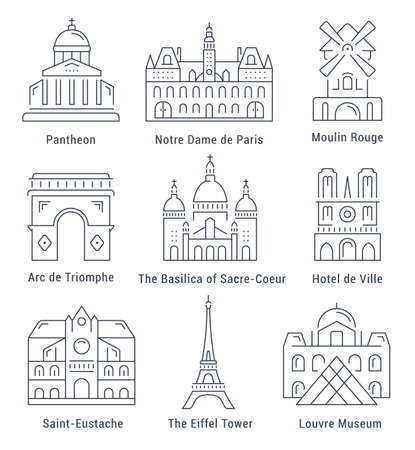 moulin: Set vector line icons in flat design Paris architecture and France building with elements for mobile concepts and web apps. Collection modern infographic  pictogram.