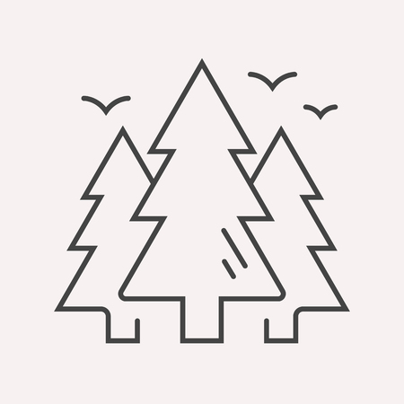 eco tourism: label forest. Line style template. Easy to use business template. Vector abstract emblem.