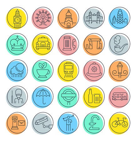 gherkin building: Set vector line icons in flat design London and England with elements for mobile concepts and web apps. Collection modern infographic pictogram.