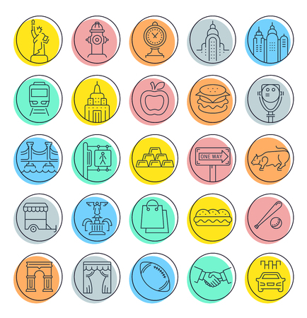 Set vector line icons in flat design New York and USA with elements for mobile concepts and web apps. Collection modern infographic  pictogram.