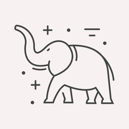 africa outline: label elephant. Line style template. Easy to use business template. Vector abstract emblem.