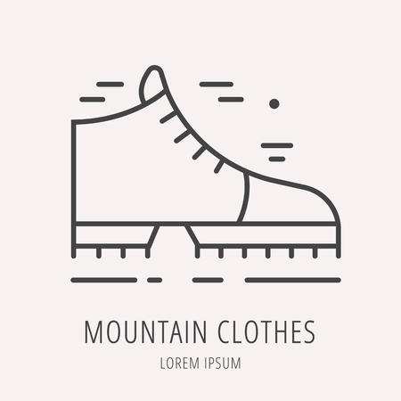 emplate: label mountain equipment. Line style emplate. Easy to use business template. Vector abstract emblem. Illustration