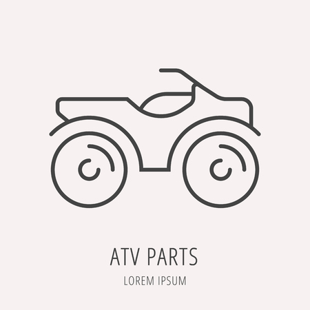 extremesport: label atv. Line style template. Easy to use business template. Vector abstract emblem.