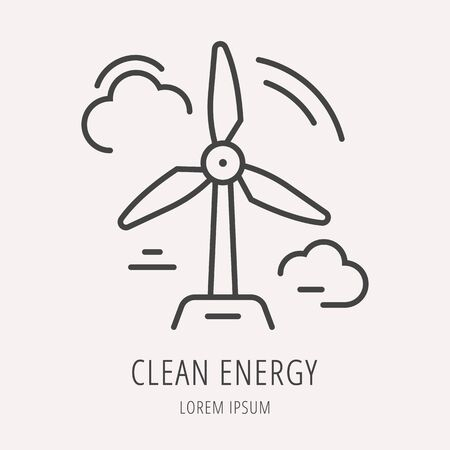 energy use: label eco clean energy. Line style template. Easy to use business template. Vector abstract emblem.