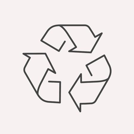 リサイクル ラベル。線スタイルのテンプレート。使いやすいビジネス テンプレート。抽象のベクトルエンブレム。