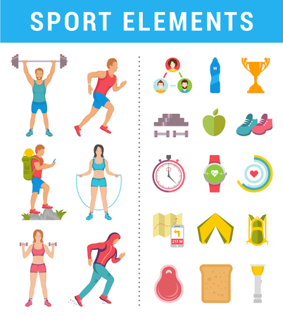 sportsmen: Vector set sport and fitness athlete with elements and icons. Illustrations on white background. Running man, fitness, bodybuilding man and hiking. Modern isolated illustration sports man and women.