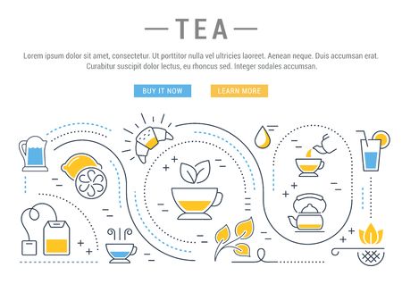 tea ceremony: Flat line illustration of tea, tea ceremony and sale of tea beverages. Concept for web banners and printed materials. Template with buttons for website banner and landing page. Illustration