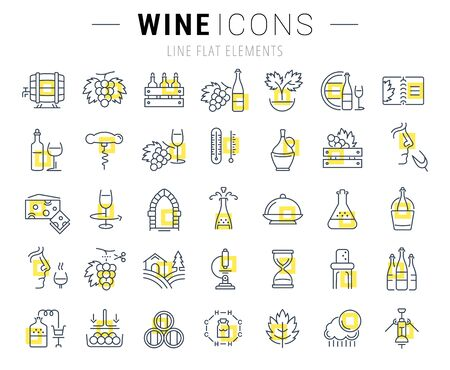tasting: Set vector line icons in flat design wine making, grape cultivation, tasting, storage and sale of wine with elements for mobile concepts and web apps. Collection modern infographic  pictogram.