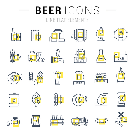 brewing house: Flat line illustration of beer making, wheat cultivation and sale of alcoholic beverages. Concept for web banners and printed materials. Template with buttons for website banner and landing page.