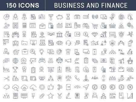 Fije los iconos del vector de línea de diseño plano con elementos móviles de conceptos y aplicaciones web. Colección moderna logotipo de infografía y pictograma.