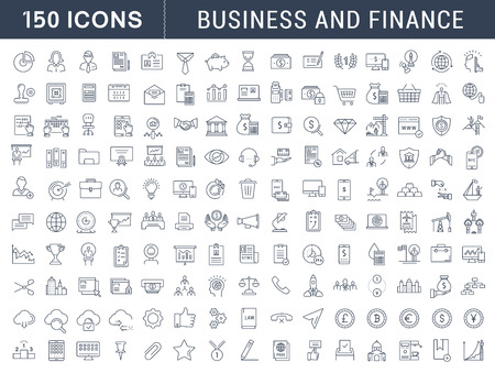 Set vector line icons in flat design with elements for mobile concepts and web apps. Collection modern infographic logo and pictogram.
