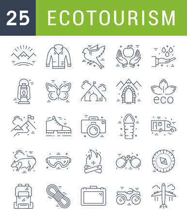 recycle icon: Set vector line icons in flat design eco, ecotourism and recycle with elements for mobile concepts and web apps. Collection modern infographic logo and pictogram.