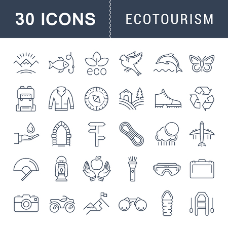 eco icons: Set vector line icons in flat design eco, ecotourism and recycle with elements for mobile concepts and web apps. Collection modern infographic logo and pictogram.