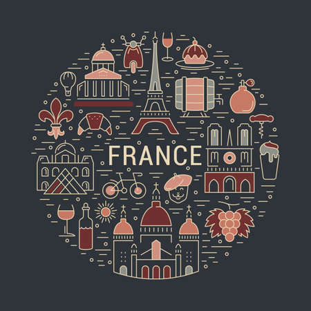 coeur: France and Paris City concept. Symbols isolated on background. Web banner with scooter, wine, architecture, cycle, and culture thing. France illustration. Paris vector label. Vector emblem Paris.