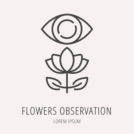 observation: logo or label flower observation. Line style logotype template. Easy to use business template. Vector abstract logo or emblem. Illustration