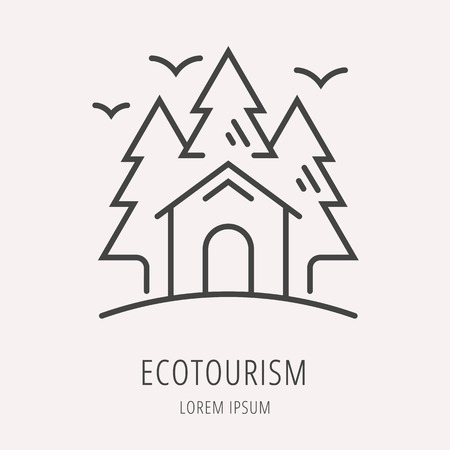 eco tourism: logo or label forest and ecotourism. Line style logotype template. Easy to use business template. Vector abstract logo or emblem.