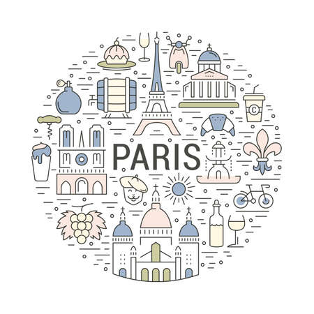 moulin: France and Paris City concept. Symbols isolated on background. Web banner with scooter, wine, architecture, cycle, and culture thing. France illustration. Paris vector label. Vector emblem Paris.