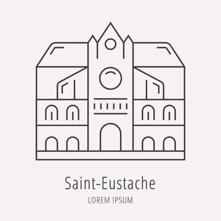 architecture pictogram: Set vector line icons in flat design Paris architecture and France building with elements for mobile concepts and web apps. Modern infographic logo and pictogram.