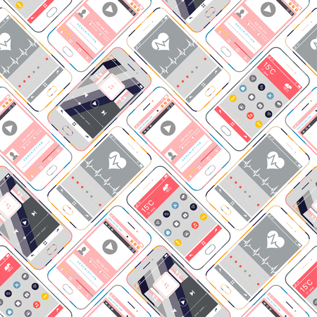 mobile devices: Mobile Devices, Smartphone Seamless Pattern Background. Mobile interface wallpaper design. Health, multimedia, player, icons, weather, web interfaces - Vector Illustration Illustration