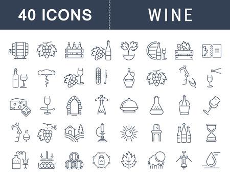 フラットなデザインのワイン作り、ブドウ栽培、試飲、ストレージ、携帯電話の概念と web アプリの要素を持つワインの販売のベクター線のアイコン