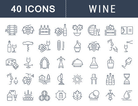Set vector line icons in flat design wine making, grape cultivation, tasting, storage and sale of wine with elements for mobile concepts and web apps. Collection modern infographic logo and pictogram. Иллюстрация