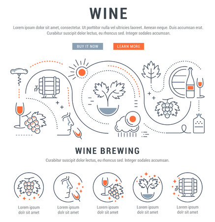 wine making: Flat line illustration of wine making, grape cultivation and sale of alcoholic beverages. Concept for web banners and printed materials. Template with buttons for website banner and landing page.
